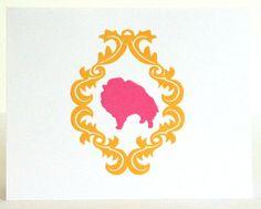 Pomeranian Dog Note Cards-Damask Frame-Orange and Pink-Pack of 10. $9.00, via Etsy.