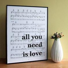 All you need is love...again! Beatles Lyrics Typographic Sheet Music Print