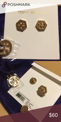 Tory Burch earring NWT !Authentic Hex-LogoStud earring, simply elegant look  Gold color, come with little dust bag as well.Price is lowest firm. Please bundle for discount, thanks Tory Burch Jewelry Earrings