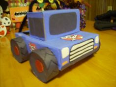 made a monster truck valentine box for boy