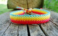 Rainbow Road Friendship Bracelet by on Etsy Macrame Bracelets, Friendship Bracelets, Rainbow, Camping, Crochet, Crafts, Etsy, Jewelry, Rain Bow