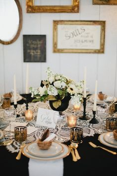 Vintage Gold Black and Lace Tablescape | photography by http://www.kristynhogan.com/