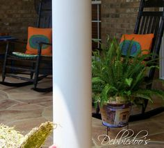 Pretty front porch with mod podged terra cotta pot.