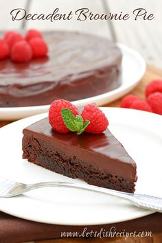 Decadent Brownie Pie Recipe | You won't believe how easy it is to make this this rich, chocolate, restaurant quality dessert.