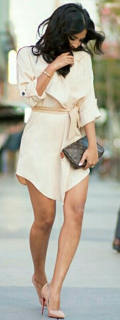 #street #fashion beige romper...the more I look at this outfit I fall more deeply in love with it. Stunning! Chic elegance