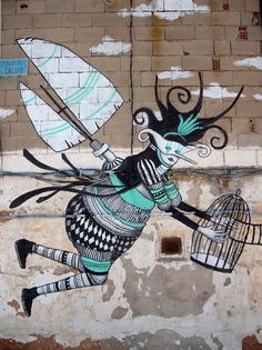 """Artist, Skount - Las Pedroneras, Spain """"a metaphor that we escape from a birdcage, only to enter another one as humans"""" Street Art Utopia, Murals Street Art, Street Art Graffiti, Best Street Art, Amazing Street Art, Best Graffiti, Graffiti Artwork, Chalk Art, Street Artists"""