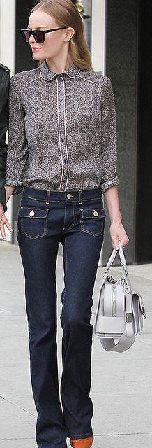 Kate Bosworth in TOPSHOP Paisley Tile Print Shirt | Dittos Veronica High-Rise Flare Jean | Loeffler Randall Rider Bag