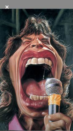 Mick Jagger, Cartoon Faces, Funny Faces, Cartoon Art, Cartoon Mouths, Caricature Artist, Caricature Drawing, Funny Caricatures, Celebrity Caricatures
