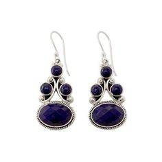 NOVICA Sterling Silver Jewelry Lapis Lazuli Earrings ($60) ❤ liked on Polyvore featuring jewelry, earrings, dangle, lapis lazuli, earring jewelry, lapis lazuli earrings, novica earrings, dangle earrings and dangling jewelry