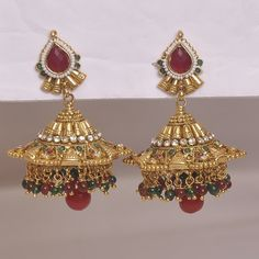 maroon Green Pearls Earrings