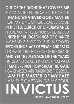 Invictus Poem Poetry William Ernest Henley Inspirational Motivational Quote Art