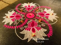 We have included beautiful diwali rangoli designs from shanthi's gallery. It's believed that rangoli designs started many centuries ago. Some refrences of rangoli designs are also available in our Indian Rangoli Designs, Rangoli Designs Latest, Rangoli Designs Flower, Small Rangoli Design, Rangoli Designs Images, Flower Rangoli, Beautiful Rangoli Designs, Diwali Designs, Rangoli Colours