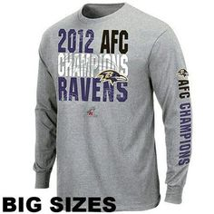 Baltimore Ravens Big Sizes 2012 AFC Champions Advancing Win Long Sleeve T-Shirt - Ash