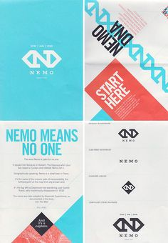 Beautiful, subtle reds & blues.   The Typofiles #111 - Nemo Design Rebrand Double-Sided Promo Poster | Designer: Shauna Haider (Nubby Twiglet)