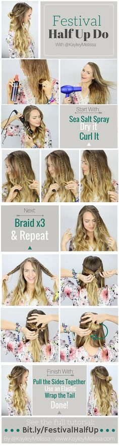 Music Festival Inspired Braided Half Updo. This is perfect for spring and summer! | DIY Hair Style