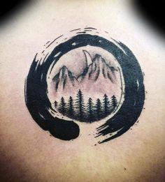 Nature Landscape Black Ink Enso Mens Back Tattoo