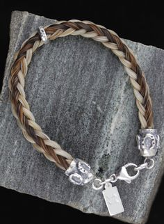 Custom Horse Hair Bracelet With Large Sterling Silver Shoe End Caps Made Your Horses Tail