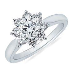 Round Diamond Flower Ring in White Gold: Angara Diamond Flower, Diamond Cluster Ring, Diamond Rings, Diamond Jewelry, Diamond Engagement Rings, Solitaire Diamond, Sapphire Jewelry, Snowflake Ring, Snowflake Wedding