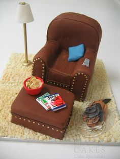 Leather comfy chair cake covered in fondant