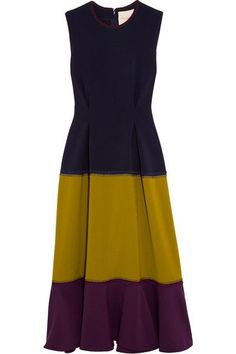 Navy, olive and eggplant stretch-cady Concealed hook and zip fastening at back 80% polyester, 14% viscose, 6% elastane Dry clean Designer color: Navy/ Chartreuse/ Burgundy Made in Italy