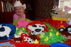 A three year old's farm themed party-- look at that excited face! Excited Face, Farm Themed Party, Party Themes, Party Ideas, Farm Cake, Pony Party, Three Year Olds, Old Farm, Party Looks