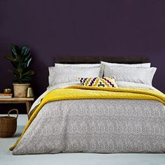 A chic, urban bedlinen design, Koba marries a hypnotic hand-drawn maze print with a small-scale dot reverse.