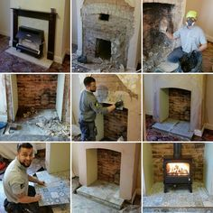 """From old gas fire to a @DimplexUK log burner in a matter of days - a lovely installation in Ripley, and a cheeky smile from Tim! #CosyFire"""