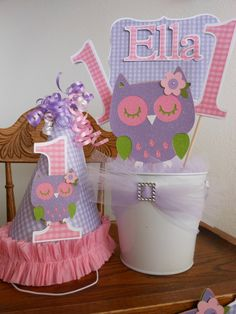 Pinks and Purple Owl 1st Birthday Party