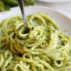 Zucchini Noodles with Creamy Avocado Pesto - Eat Yourself Skinny