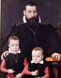 Portrait de Adriann van Santvoort avec ses fils Guillaume et Adrian, 1563 Bernaert de Rijckere