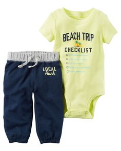 Baby Boy 2-Piece Bodysuit & French Terry Pant Set  Crafted in super soft cotton with a beach graphic, this 2-piece set keeps him handsome and comfy for all-day play.