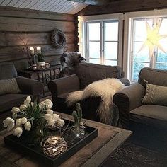 Chalet Interior, Interior Design Living Room, Cozy Cabin, Cozy House, Cabin Homes, Log Homes, Cabin Interiors, Home Staging, Hygge