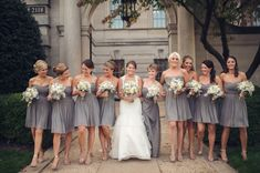 Short Gray Strapless Bridesmaids Dresses // Audra Wrisley Photography