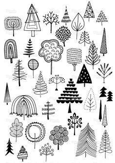 Hand drawn vector doodle trees, quirky and fun nature and Ch.- Hand drawn vector doodle trees, quirky and fun nature and Christmas… Gekritzel Bäumen Lizenzfreies vektor illustration - Bullet Journal Inspiration, Journal Ideas, Journal Art, Doodle Inspiration, Art Journals, Bullet Journals, Journal Layout, Tattoo Inspiration, Doodle Drawings