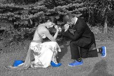 tebowing and blue shoes for prom