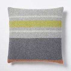 Faribault Large Stripe Pillow Cover - Heather Platinum #westelm