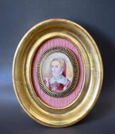 French Antique Miniature Painting of Woman Lady Portrait Framed – Charmantiques