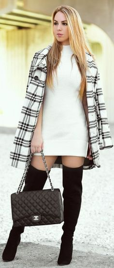 White And Grey Check Coat by Chic Fashion World
