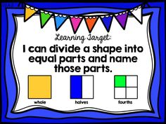 understand breaking shapes into parts, halves, fourths, first 1st grade ready math, common core, curriculum associates, unit 6 lesson 28, learning target poster