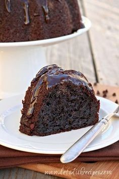 A dense, gooey chocolate bundt cake. So moist it doesn't even need frosting!