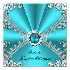 Shop Teal Blue Diamond Jewel Silver Birthday Party Invitation created by Zizzago. Fancy Wedding Invitations, Bachelorette Party Invitations, Quinceanera Invitations, Engagement Party Invitations, Birthday Party Invitations, Custom Invitations, Birthday Parties, Blue Diamond Jewels, Xmas Cards