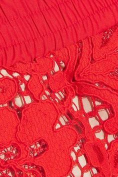 Goen J - Two-tone Corded Lace Shorts - Red - small