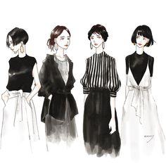 黒は女を美しく見せるのよってセリフがなんか子供心に響いて好きでした❤︎ #おそのさん#魔女宅#白黒コーデ#ファッションイラスト#イラスト#黒ニット#黒シャツ#黒デニム#ショートヘア#ロングヘア#ターバンアレンジ#ボブ#fashionillustration#illustration#artwork#adobesketch Seoul Fashion, Fashion Art, Love Fashion, Korean Fashion, Womens Fashion, Cut And Style, My Style, Pale Face, Illustration Mode