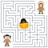 Labirinto para crianças - nativo da ação de graças Foto de Stock Royalty Free