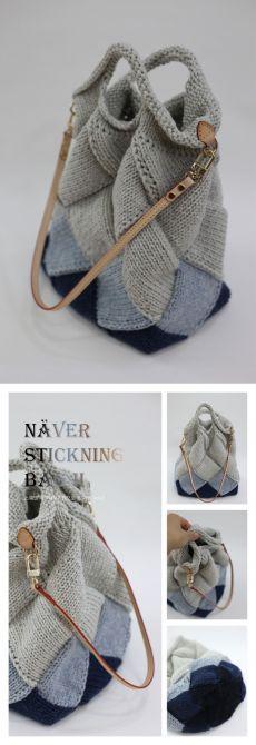 Knitting Designs, Knitting Patterns, Crochet Handbags, Knitted Bags, Handmade Bags, Lana, Bucket Bag, Knit Crochet, Wool