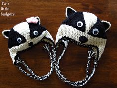 Badger hats! Free pattern here - http://www.beingspiffy.com/blog/honey-badger-earflap-beanie-crochet-pattern.html