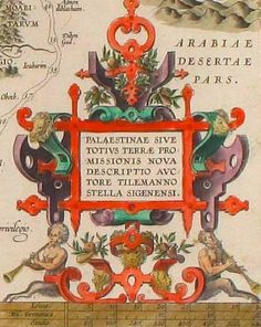 Lover Cartouche from a Map of the Holy Land, 1572