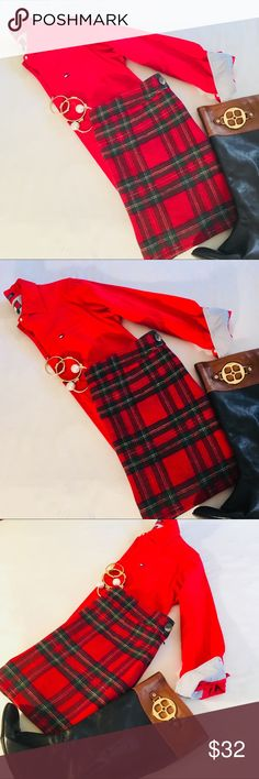 Tommy Hilfiger Red +Green Tartan Plaid Wool Skirt Super cute red wool plaid pencil skirt with Shades of green in excellent condition. Perfect addition to any preppy and stylish wardrobe Tommy Hilfiger Skirts