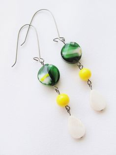 Casual, everyday jewelry: Green, Yellow, and White Long Dangle Earrings - Green Glass, Bright Yellow, and Shell Beads on Long Gunmetal Kidney Hooks by Katya Valera, $13.00