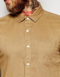 Image 3 of ASOS Laundered Linen Shirt In Stone With Long Sleeves